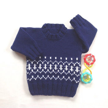 Baby knit sweater - 6 to 12 months - Fair Isle baby knit - Baby clothing - Infant sweater - Baby boy jumper
