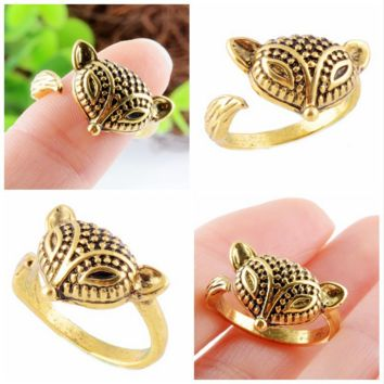 Fashion Unique Fox Tail Ring Opening Couple Adjustable Ring
