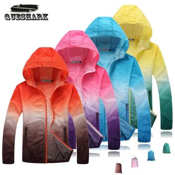 Men Women Anti-UV Ultralight Cycling Skin Jacket Gradient Sun-Protective Outdoor Hiking Camping Trekking Running Sport Coat