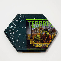 Ceramic Hexagon Beer Label Coaster | Terrapin Hopsecutioner IPA Beer | Upcycle Ceramic Tile Coaster | Craft Beer Geek Gift | Single Coaster