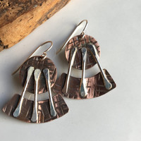 Hammered Earrings, Copper and Sterling Earrings, Dangle and Drop Earrings, Soldered Earrings, Metalwork Earrings, Unique Earrings, Rustic