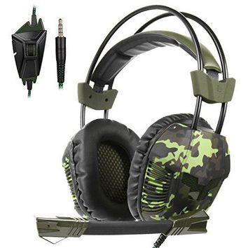 Yanni Sades SA921Plus Over Ear Stereo Gaming Headset Headband Headphones with Microphone for PC/ Mac/ PS4/ Phones/ Tablets Gamers(Camouflage Green)