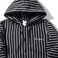 Champion Woman Men Fashion Edgy Embroidery Sport Stripe Long Sleeve Hoodie Shirt Sweater Top Tee Black