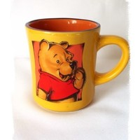Disney Coffee Mug Winnie Pooh Bear Novelty Character Cup Orange Red Yellow