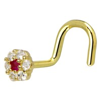 Solid 14KT Yellow Gold Clear Red CZ Flower Nose Screw Ring