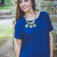 Relaxed Chiffon Top in Navy