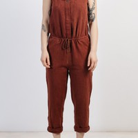 Marta Clay Red Women's Linen Jumpsuit