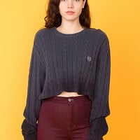 Vintage Cropped Dip-Dyed Cable Knit Sweater