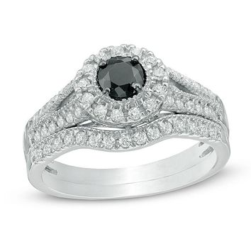 5/8 CT. T.W. Enhanced Black and White Diamond Halo Bridal Engagement Ring Set in 14K White Gold