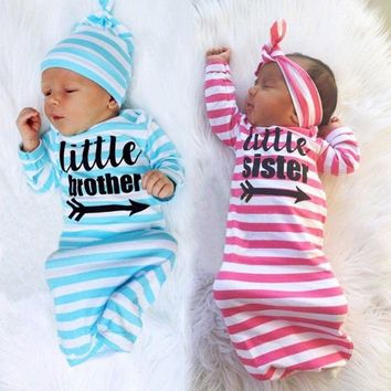 US Baby Kids Girls Newborn Sister Brothers Home Sleepwear outfit Set Baby Gown