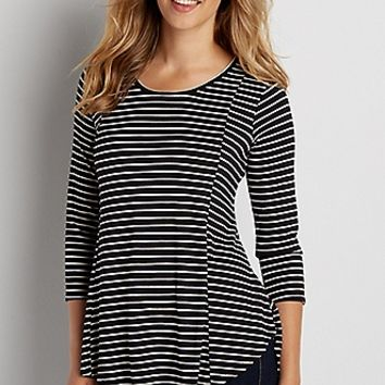 the 24/7 striped swing tee with keyhole back and high-low hem | maurices