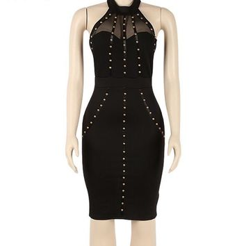 Sexy black studded halter bodycon dress
