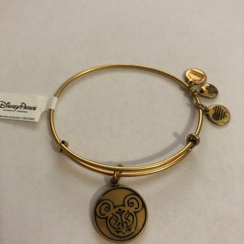 Disney Parks Mickey Filigree Charm Bracelet Bangle Alex & Ani Gold New W Tags