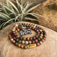 Three wise monkeys wrap bracelet - See no evil - Hear no evil - Speak no evil - Yoga Jewelry - Breathe - Great gifts for him or her