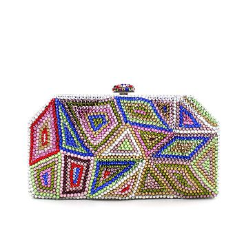 New  Rhinestone Crystal Minaudiere Pyramid Clutch