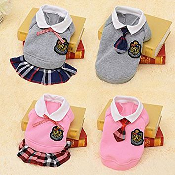 Idepet Pet Clothes for Dog Dress, Campus Style Skirts, Lattice Lovers Clothing ,Cotton Costume Stripe Skirt, Collar T-shirt, Pink Grey Color Dresses