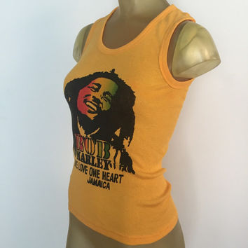 Bob Marley Tank Top, One Love One Heart Jamaica Vintage Bob Marley Top, Yellow Ribbed Tank Top, Stretch Tank Top Festival Top Reggae Rasta M