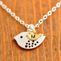 Personalized Mom Necklace - silver mom necklace, initial necklace, baby neckalce, mother necklace, monogrammed necklace