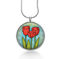 Red Tulips Necklace - Flowers Jewelry - Handmade - Art Pendant