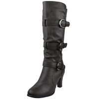 Womens Mid Calf Boots Triple Adjustable Buckles Side Zipper Closure Brown