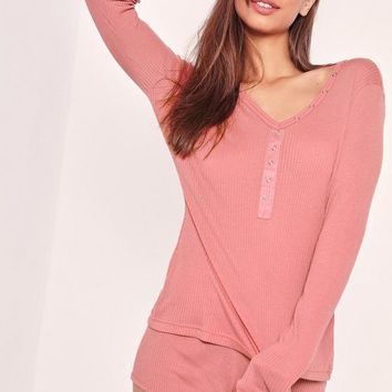 Missguided - Pink Ribbed Long Sleeve Pajama Set
