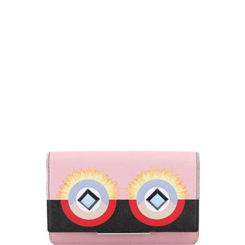 Fendi Monster Leather Flap Wallet-on-Chain, Pink/Black