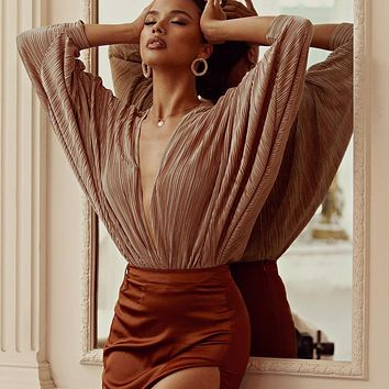2019 new women's pleated loose V-neck long-sleeved jumpsuit