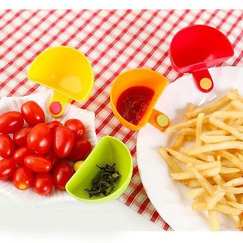 4 pcs/Set Assorted Salad Sauce Ketchup Jam Dip Clip Cup Bowl Saucer Tableware Kitchen Sugar Salt Vinegar Organization 4 Color