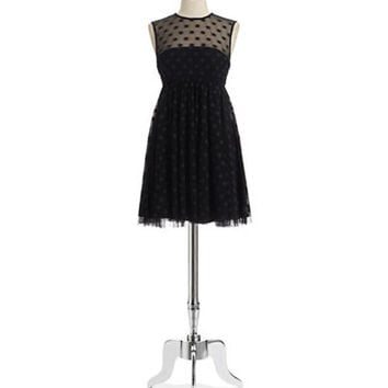 Jill Jill Stuart Illusion Neck Polka Dot Dress