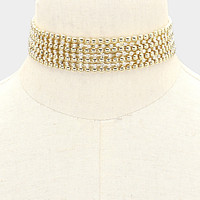 """12"""" gold crystal choker collar necklace bridal prom 1"""" wide"""