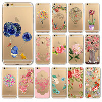 "Free Shipping Ultra Soft TPU Painted Clear Phone Case For iPhone 6 6s 4.7""  WHD1291(21-40)"