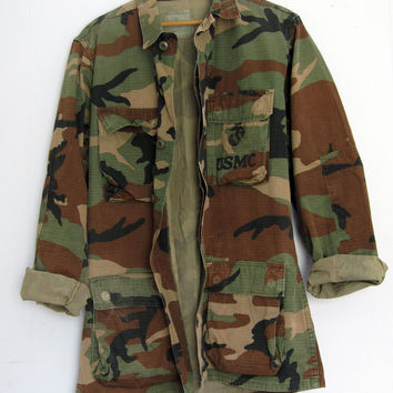 Vintage US Military Woodland Camouflage Camo Faded Hunting Jacket Shirt Small Long
