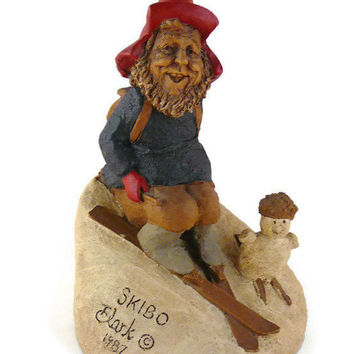 "Vintage, Tom Clark, Retired ""Skibo"", Handcrafted, Wood Sprite, Gnome Figurine, By Cairns Studio"
