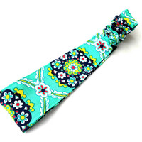 Modern Teal and Navy Floral Reversible Headband - Turquoise Blue Flowers Reversible Headband
