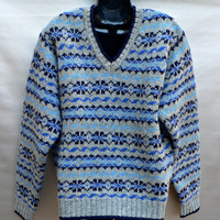 100% Wool Ski Sweater by Brooks Brothers - Gray, Blue, Black Fair Isle - V-Neck Pullover - Mens Medium (M)