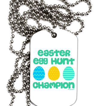 Easter Egg Hunt Champion - Blue and Green Adult Dog Tag Chain Necklace by TooLoud