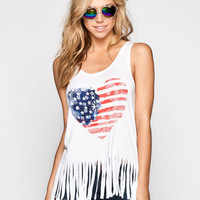 Full Tilt Paisley American Heart Womens Tank White  In Sizes