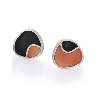 Sterling Silver and Resin Studs, Pebble Little Geometric Everyday Powder Pink Post Earrings Colorful Art Jewelry Womens Gift for Christmas