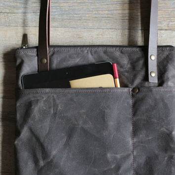 Waxed canvas bag - laptop bag - canvas tote - tote with leather handles - canvas laptop bag - handmade bag - waxed cotton bag