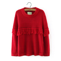 Pullover Knit Winter Tassels Round-neck Long Sleeve Tops [8422526209]