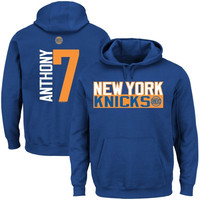 Carmelo Anthony New York Knicks Vertical Name & Number Hoodie – Royal Blue