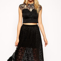 Black Sleeveless Lace Crop Top Pleated Skirt Set