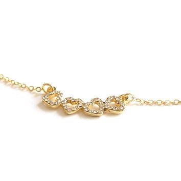 Hearts with Rhinestone Necklace