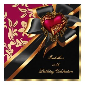 Pink Red Gold Heart Bow Black Birthday Party 5.25x5.25 Square Paper Invitation Card