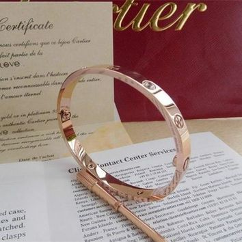 CARTIER Love 18k Rose Gold/4 Diamonds Bracelet Size 19