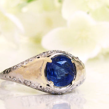 GIA Certified Untreated Cushion Cut 2.38ct Sapphire Engagement Ring Platinum Diamond Vintage Engagement Ring Diamond Wedding Ring Size 7!