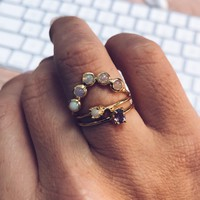 To Have & To Hold (Half Halo Opal Ring)