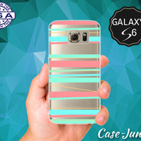 Pastel Horizontal Stripes Coral Mint Art Cute Tumblr Case for Clear Rubber Samsung Galaxy S6 and Samsung Galaxy S6 Edge Clear Cover