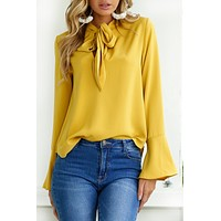 Long Trumpet Sleeves Pure Color Loose Straps Blouse