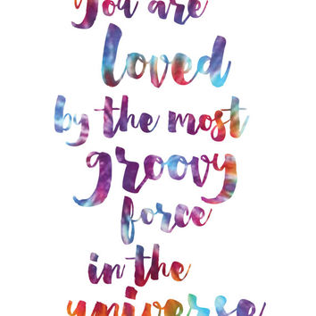 You Are Loved Print / Tie Dye Art / Tie Dye Print / Love Quote Print / Up to 13x19 / Hippie Print / Colorful Positive Print / Positive Quote